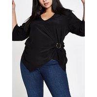 RI Plus Buckle Wrap Blouse - Black, Black, Size 26, Women