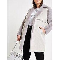 RI Plus RI Plus Faux Fur Lined Longline Coat - Grey, Light Grey, Size 22, Women