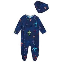 Baker by Ted Baker Baby Boys Airplane Sleepsuit And Bib, Navy, Size 12-18 Months