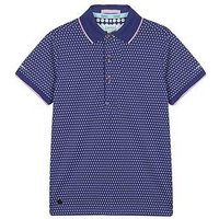Baker by Ted Baker Boys Shadow Dot Short Sleeve Polo, Purple, Size 4-5 Years