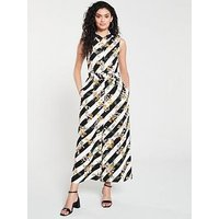Karen Millen Floral And Stripe Jumpsuit - Multi