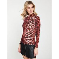 V by Very Red Leopard High Neck Top - Animal Print, Animal Print, Size 14, Women