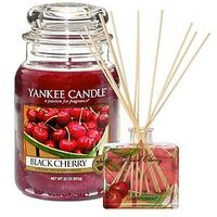 Product photograph showing Yankee Candle Large Classic Jar Candle And Reed Diffuser Set Ndash Black Cherry