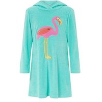 Monsoon Finessa Flamingo Towelling, Turquoise, Size Age: 5-6 Years, Women