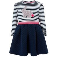 Monsoon Baby Leli 2 In 1 Stripe Dress, Navy, Size 2-3 Years