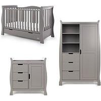 Product photograph showing Obaby Stamford Luxe Sleigh 3-piece Nursery Furniture Set