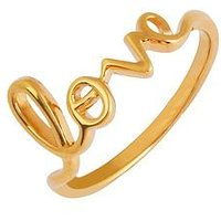 The Love Silver Collection 18ct Gold Plated Silver 'Love' Ring, Gold, Size L, Women