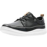 Clarks Cloud Blaze Leather Lace Shoes - Black, Black, Size 2 Older