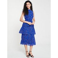 Whistles Ditsy Floral Pleated Tiered Dress - Blue