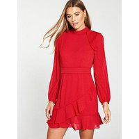 Whistles High Neck Dobby Frill Dress - Red