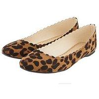 Accessorize Accessorize Richmond Scallop Ballerina, Leopard, Size 37, Women