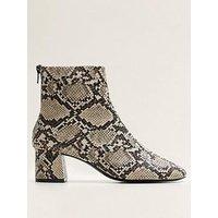 Mango Snake Print Ankle Boots - Light Beige, Light Beige, Size 5, Women