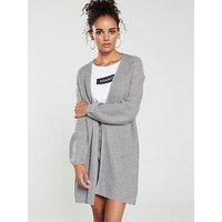 Mango Rib Knit Cardigan - Grey, Grey, Size S, Women