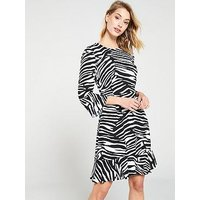Whistles Zebra Print Flippy Dress - Black/White