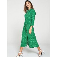 Whistles Abstract Spot Selma Tie Dress - Green