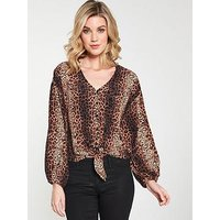 V by Very Animal Print Blouse - Printed, Animal, Size 12, Women