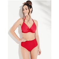 Pour Moi Bali Adjustable Halter Underwired Bikini Top - Red, Red, Size 32G, Women