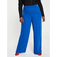 V by Very Curve D Ring Detail Wide Leg Trouser, Blue, Size 16, Women
