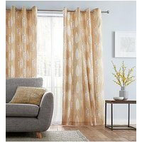 Product photograph showing Catherine Lansfield Stockholm Leaves Lined Eyelet Curtains