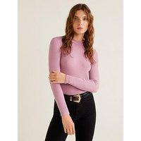 Mango Ribbed Jersey Long Sleeve Top - Pink, Pink, Size L, Women