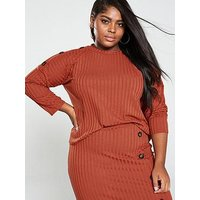 V by Very Curve Button Detail Rib Top - Rust, Rust, Size 20, Women