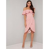 Chi Chi London Parker Bardot Ruffle Midi Dress - Rose Gold