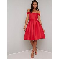 Chi Chi London Jade Bardot Prom Dress - Red