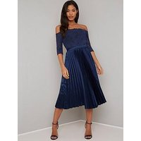 Chi Chi London Lesli Lace Top Pleated Skirt Midi Dress - Navy