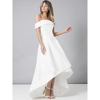 Chi Chi London Bridal Meryl Bardot Dip Hem Midi Dress - White