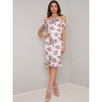 Chi Chi London Russa Floral Print Cold Shoulder Midi Dress - Pink
