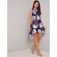 Chi Chi London Marigold Dip Hem Floral Prom Dress - Navy