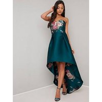Chi Chi London Brie Strapless Printed Dip Hem Dress - Teal