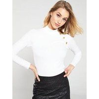 V by Very Button Detail Rib Top - White, Ivory, Size 14, Women