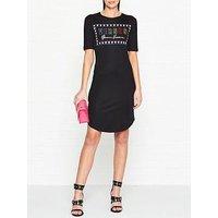 Versus Versace Logo Print Short Sleeve Dress - Black