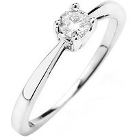 Love DIAMOND 9ct Gold 1/3 Carat Diamond Solitaire Engagement Ring, One Colour, Size V, Women