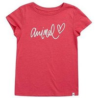 Animal Girls Script Heart Short Sleeve T-Shirt - Pink, Pink, Size Age: 9-10 Years, Women