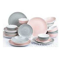 Product photograph showing Waterside Pink And Grey Spin Wash Dinner Service - 24-piece Set