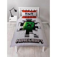 Product photograph showing Minecraft Dynamite Reversible Single Duvet Cover Set