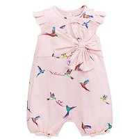 Baker by Ted Baker Baby Girls Frill Woven Birds Romper, Light Pink, Size 9-12 Months