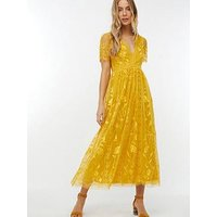 Monsoon Valentina Embroidered Midi Dress - Yellow
