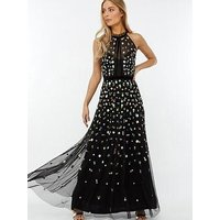 Monsoon Annie Embellished Floral Maxi Dress - Black