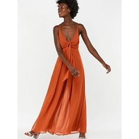 Monsoon Joan Plain Wide Leg Jumpsuit - Rust