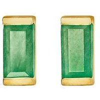 Love Gem Gold Plated Sterling Silver Emerald Baguette Stone