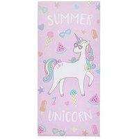 Product photograph showing Catherine Lansfield Unicorn Beach Towel
