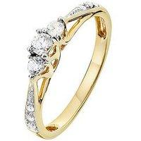 Love DIAMOND 9ct Gold 23 Point Diamond Trilogy Ring, One Colour, Size N, Women