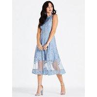 Little Mistress Lace Spot Midi Dress - Blue, Blue, Size 10, Women