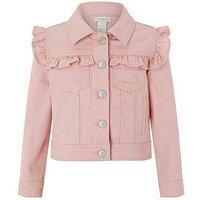 Monsoon Piera Ruffle Twill Jacket, Pale Pink, Size 9-10 Years, Women
