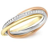 Love GOLD 9ct Gold Tri-Colour Cubic Zirconia Russian Band Ring, Gold, Size Q, Women
