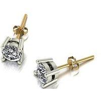 Moissanite 18ct Gold 1ct total 5mm Round Brilliant Moissanite Stud Earrings, White Gold, Size H, Women