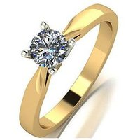 Love DIAMOND 18ct Gold 1/2 Carat Diamond Solitaire Ring with Cerfificate, White Gold, Size Q, Women
